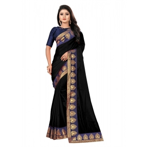 Generic Women's Jacquard Lace Border Paper Silk Saree With Blouse Piece (Black, 5-6mtrs)