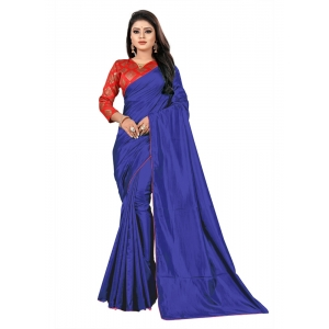 Generic Women's Paper Silk Saree With Jacquard Blouse Piece (Royal Blue, 5-6mtrs)
