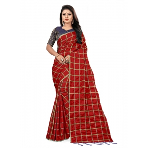 Generic Women's Checks Weaving Paper Silk Saree With Jacquard Blouse Piece (Red, 5-6mtrs)