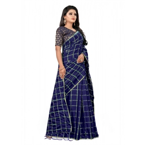 Generic Women's Checks Weaving Paper Silk Saree With Jacquard Blouse Piece (Navy Blue, 5-6mtrs)
