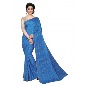 Generic Women's Checks Weaving Paper Silk Saree With Blouse Piece (Sky, 5-6mtrs)