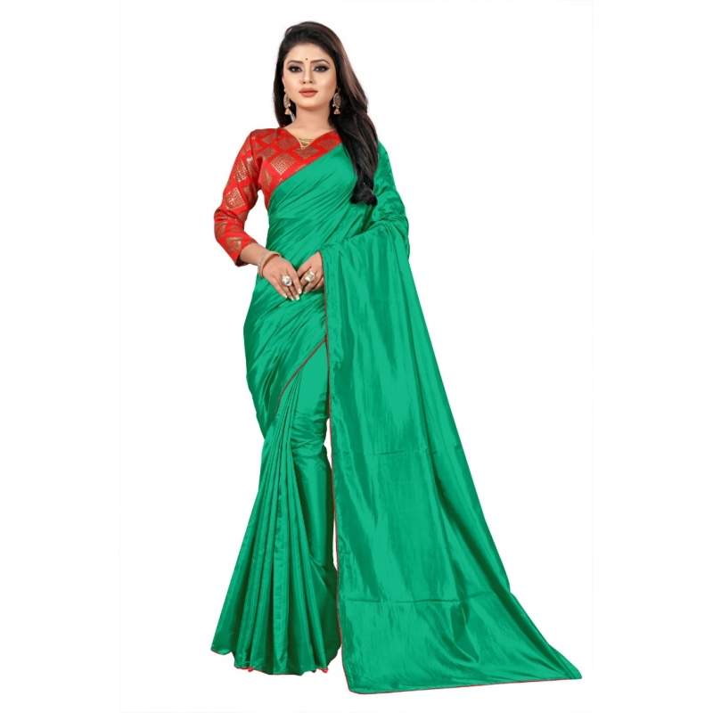 Generic Women's Paper Silk Saree With Jacquard Blouse Piece (Green, 5-6mtrs)