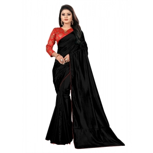 Generic Women's Paper Silk Saree With Jacquard Blouse Piece (Black, 5-6mtrs)