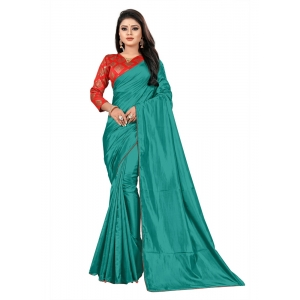 Generic Women's Paper Silk Saree With Jacquard Blouse Piece (Sea Green, 5-6mtrs)