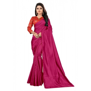 Generic Women's Paper Silk Saree With Jacquard Blouse Piece (Pink, 5-6mtrs)