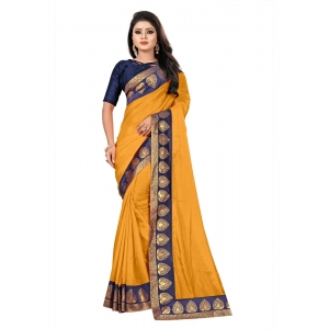 Generic Women's Jacquard Lace Border Paper Silk Saree With Blouse Piece (Yellow, 5-6mtrs)