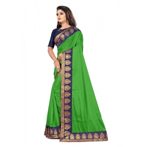 Generic Women's Jacquard Lace Border Paper Silk Saree With Blouse Piece (Light Green, 5-6mtrs)