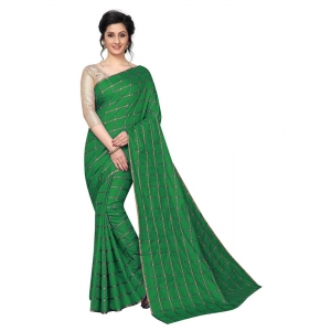 Generic Women's Checks Weaving Paper Silk Saree With Blouse Piece (Green, 5-6mtrs)