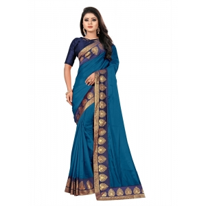 Generic Women's Jacquard Lace Border Paper Silk Saree With Blouse Piece (Sky, 5-6mtrs)