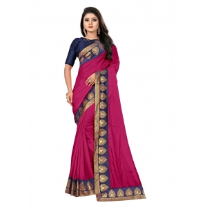 Generic Women's Jacquard Lace Border Paper Silk Saree With Blouse Piece (Pink, 5-6mtrs)