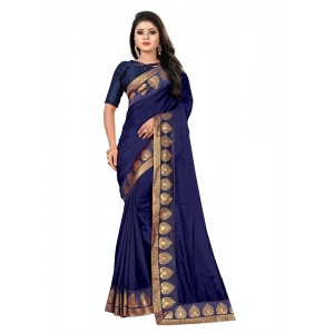 Generic Women's Jacquard Lace Border Paper Silk Saree With Blouse Piece (Navy Blue, 5-6mtrs)
