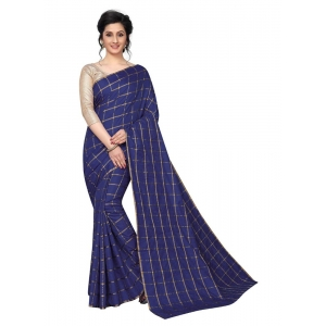 Generic Women's Checks Weaving Paper Silk Saree With Blouse Piece (Navy Blue, 5-6mtrs)
