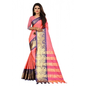 Generic Women's Cotton Silk Saree with Blouse (Pink Blue,5-6 Mtrs)