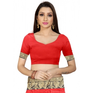 Generic Women's Cotton Silk Saree with Blouse (Red Black,5-6 Mtrs)