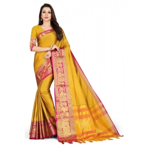 Generic Women's Cotton Silk Saree with Blouse (Yellow Pink,5-6 Mtrs)