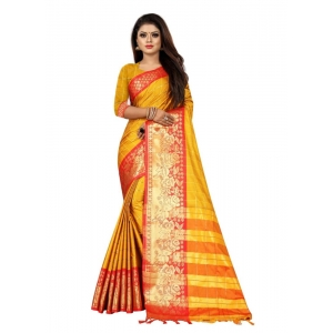 Generic Women's Cotton Silk Saree with Blouse (Mustard Red,5-6 Mtrs)