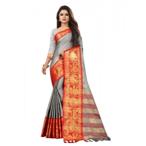 Generic Women's Cotton Silk Saree with Blouse (Grey Red,5-6 Mtrs)