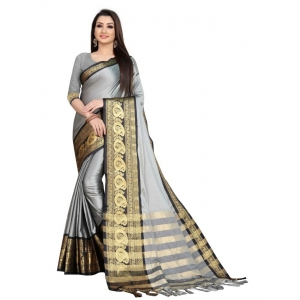 Generic Women's Cotton Silk Saree with Blouse (Grey Black,5-6 Mtrs)