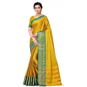 Generic Women's Cotton Silk Saree with Blouse (Gold Green,5-6 Mtrs)