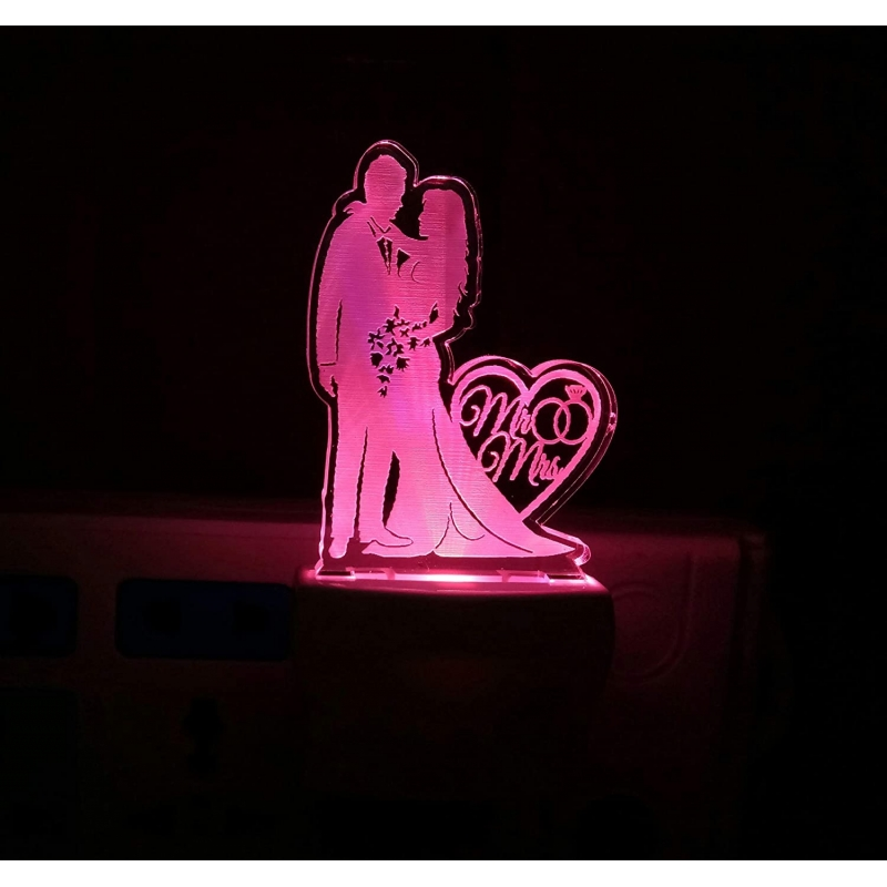 Generic Multicolor Mr And Mrs Love Couple Night Lamp