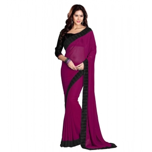 Generic Women's Georgette Saree With Blouse (Dark Pink,6-3 Mtrs)