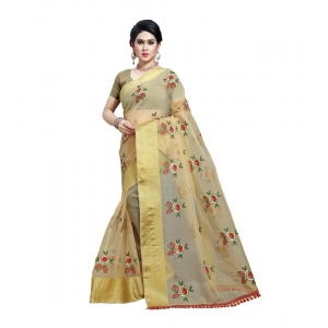Generic Women's Organza Saree With Blouse (Chikoo,6-3 Mtrs)