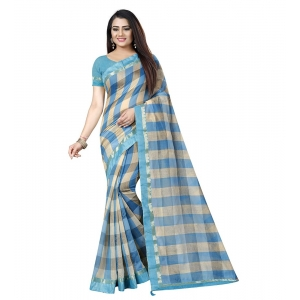 Generic Women's Cotton Silk Saree With Blouse (Blue,6-3 Mtrs)