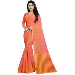 Generic Women's Cotton Silk Saree With Blouse (Peach,6-3 Mtrs)