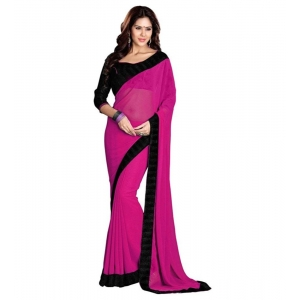 Generic Women's Georgette Saree With Blouse (Pink,6-3 Mtrs)