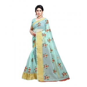 Generic Women's Organza Saree With Blouse (Pista,6-3 Mtrs)