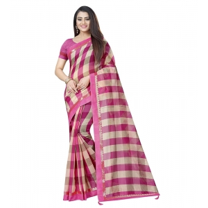 Generic Women's Cotton Silk Saree With Blouse (Pink,6-3 Mtrs)
