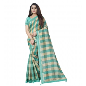 Generic Women's Cotton Silk Saree With Blouse (Green,6-3 Mtrs)