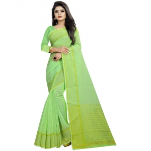 Generic Women's Cotton Silk Saree With Blouse (Pista,6-3 Mtrs)