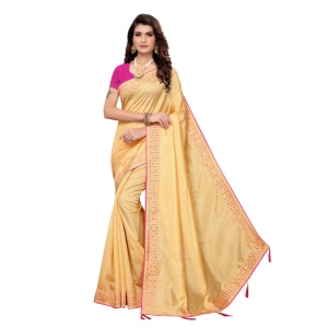 Generic Women's Zoya Silk Saree With Blouse (Chikoo,6-3 Mtrs)