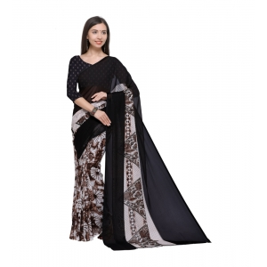 Generic Women's Georgette Saree With Blouse (Brown,6-3 Mtrs)