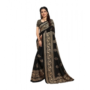 Generic Women's Georgette Saree With Blouse (Black,6-3 Mtrs)
