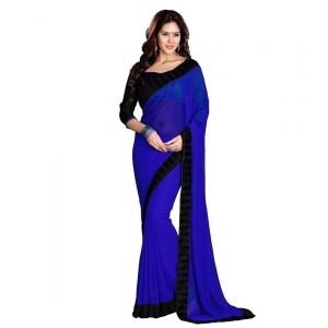 Generic Women's Georgette Saree With Blouse (Blue,6-3 Mtrs)