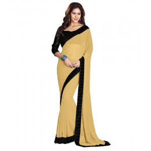 Generic Women's Georgette Saree With Blouse (Yellow,6-3 Mtrs)