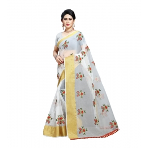 Generic Women's Organza Saree With Blouse (White,6-3 Mtrs)