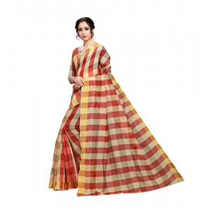 Generic Women's Cotton Silk Saree With Blouse (Maroon,6-3 Mtrs)