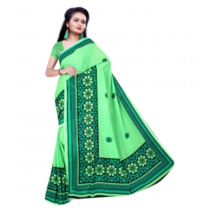 Generic Women's Georgette Saree With Blouse (Green,6-3 Mtrs)