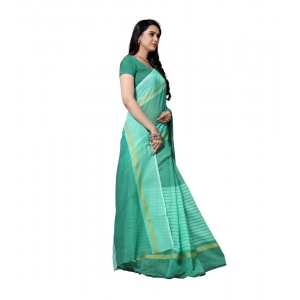 Generic Women's Cotton Silk Saree With Blouse (Seagreen,6-3 Mtrs)
