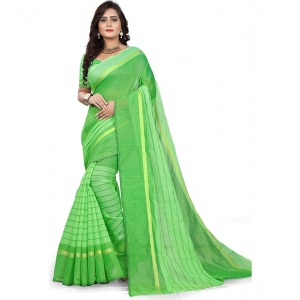 Generic Women's Cotton Silk Saree With Blouse (Light Green,6-3 Mtrs)