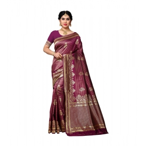 Generic Women's Jacquard Silk Saree With Blouse (Wine,6-3 Mtrs)