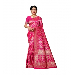 Generic Women's Jacquard Silk Saree With Blouse (Pink,6-3 Mtrs)