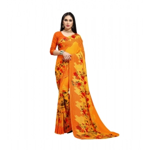 Generic Women's Georgette Saree(Yellow,5-6 Mtrs)
