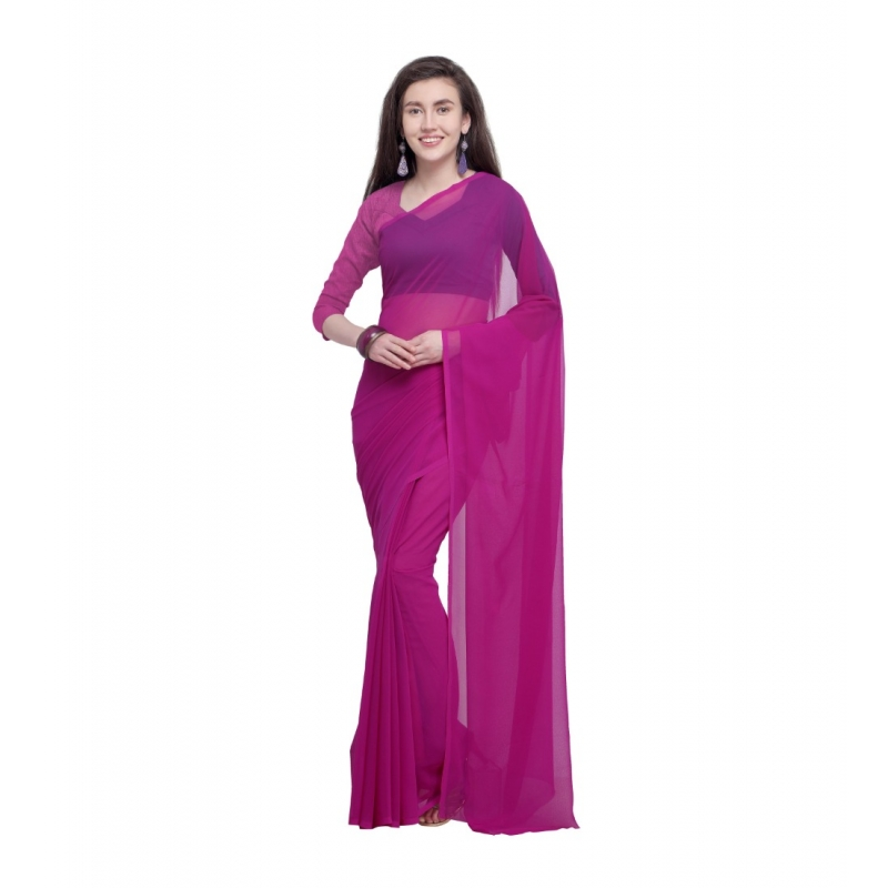 Generic Women's Dyed Saree(Pink,5-6 Mtrs)