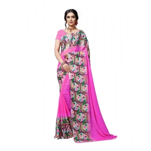 Generic Women's Georgette Saree(Pink,5-6 Mtrs)