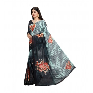 Generic Women's Georgette Saree(Grey,5-6 Mtrs)