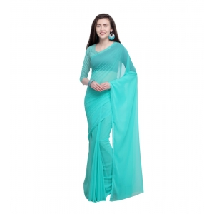 Generic Women's Dyed Saree(Seablue,5-6 Mtrs)